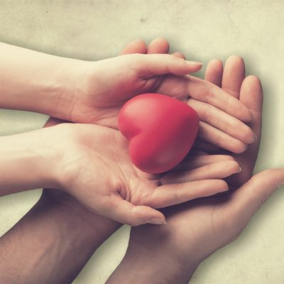 Charitable hands holding heart