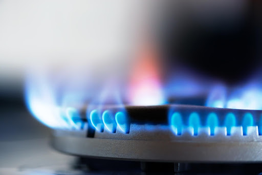 gas fire lit on a hob